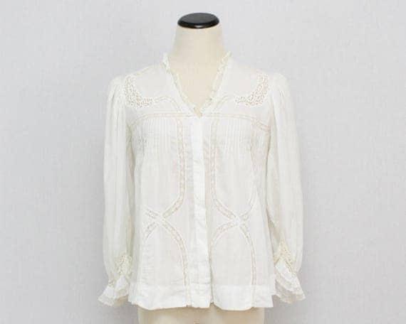 Antique Edwardian White Cotton Blouse - Size Medium