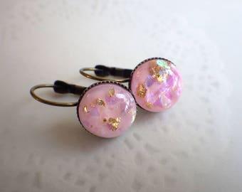 Earrings Glitter Pink bronzetone - Earrings Brisur Vintage Style