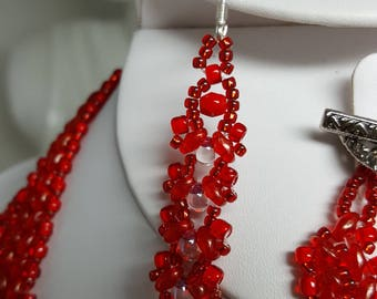 Vibrant red beaded earrings