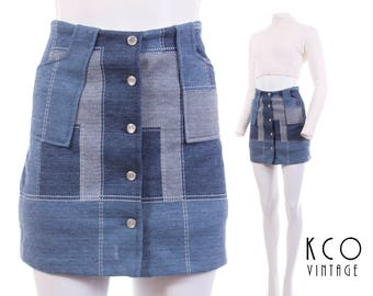 "Patchwork Mini Skirt High Waisted Skirt Faux Denim Mini Skort Denim Skort 70s Clothing Retro Boho Vintage Clothing Women's Size XS 24"" Waist"