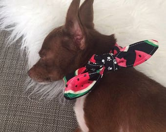 Tie-on Dog Bandana in Watermelon and Pawprints - XS/S/M/L/Xl