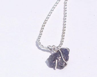 Rough Raw Tanzanite Pure Sterling Wrapped Pendant + Plated Necklace Chain #005