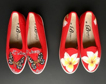 Hand Painted Canvas Shoes size US 6.5-7 / EU 37 Red Tropical Flower Butterfly Motif