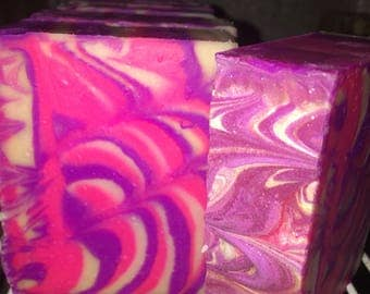 Purple Sparkle Handmade Soap, rosewater lemonade scented Soap Bar, sweet scent, tallow soap, gift for her