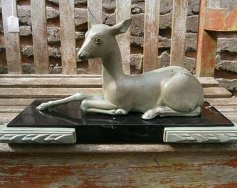 French Art Deco Bronze Spelter Reclining Deer - Original, Antique