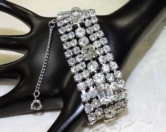 Beautiful Vintage Five Row Clear Rhinestone Bracelet