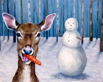 Cheeky Deer and Snowman Christmas Card