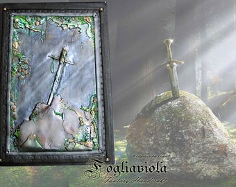 Excalibur Sword notebook Journal Camelot fantasy sword in the stone geek gift idea king Arthur Merlin knight diary enchanted fable book