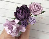 Lilac Purple Flower Hair Pins for Holidays, Weddings, Prom, Bridesmaids // Thank You Gift Set
