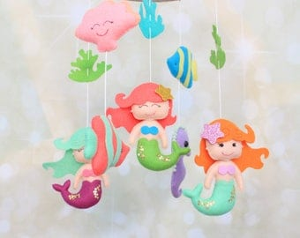 Baby mobile, mermaid mobile, sea mobile, ocean mobile, nautical mobile, nursery mobile, Mermaid nursery, baby crib mobile, ocean cot mobile