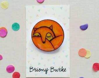 Sleeping Fox Brooch - one of a kind - hand painted - wearable art