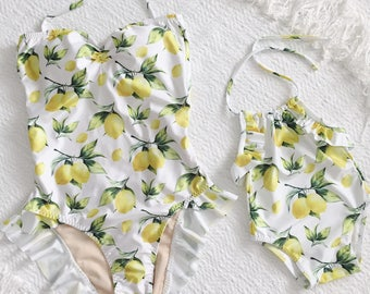 Mommy & Me matching swimsuits in Lemon Print in White  (baby - toddler, girls)