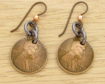 For 65th: 1953 Dark Copper US Penny Earrings 65th Birthday or 65th Anniversary Gift Coin Jewelry