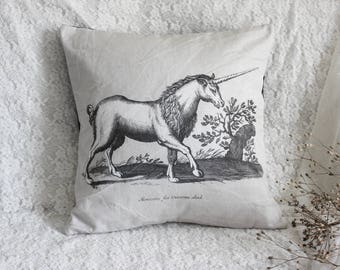 The Unicorn . cover cushion pillow print vintage old engraving of fantastic animal for cabinet of curiosity witchcraft magic decor .