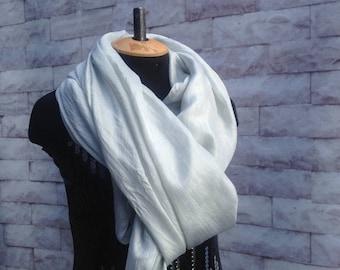 100% Silk Ponge, Silk excelsior (made in Uzbekistan) for nunofelting, price for 2 meters, width 90 cm. Colour: silver,handdyeing. Art.P001