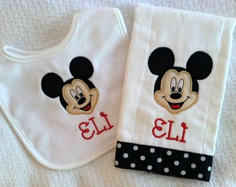 Personalized Mickey Mouse bib and burp cloth set