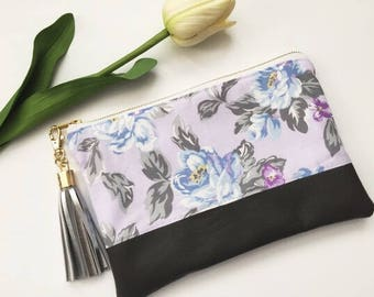 Purple and Gray Floral Leather Clutch, Gray Leather Clutch, Lavendar Clutch, Floral Clutch, Tassel Clutch, Evening Clutch, Gift For Her