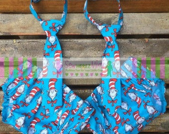 TWINS Turquoise Dr Seuss Cat in the Hat 1st Birthday Diaper Cover Necktie Cake Smash 4 pc Set