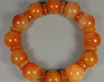 Orange JADEITE BEAD'S Stretchy Bracelet