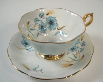 Royal Albert Cornflower Tea Cup and Saucer,  Blue teacup and saucer, Wide Mouth tea cup.