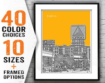 1 Day Only Sale 10% Off - Boston Skyline Poster Art Print Kenmore Square Massachussetts MA Item T1371