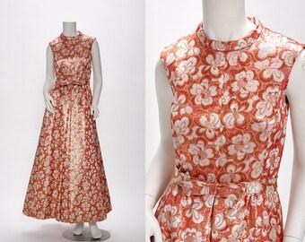 coral lurex floral brocade gown vintage 1970s • Revival Vintage Boutique