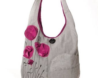 Grey purple poppy, romantic style shoulder bag