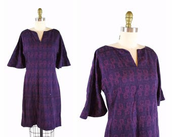 1960s Floral Stripes Sheath Dress / 60s Dress / Fitted Floral Day Dress size S / Purple and Blue Patterned Dress
