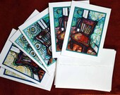 """Chair series cards, 2 each of 3 designs, 6 cards and envelopes, 4.75"""" x 6.5"""""""