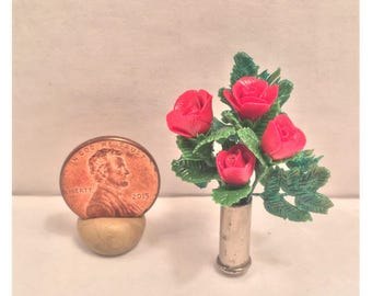 Small Miniature Vase of Roses