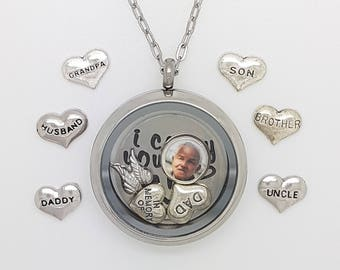 Memory necklace etsy in memory necklace memorial necklace in memory of dad remembrance gift in aloadofball Gallery