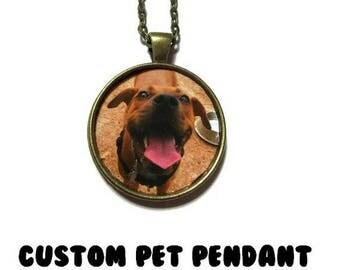 CUSTOM PET Pendant Personalized Custom Cat Necklace Dog Pendant cat Dog Lover Your Pet Photo Pet MemorialCustom Necklace Photo of your pet