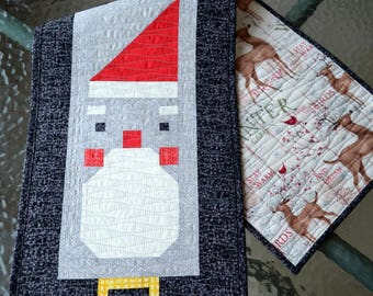 Santa Claus Table Runner Quilt Pattern, PDF, Instant Download, modern patchwork, Christmas, holiday, festive, cute, seasonal, winter