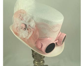 Steampunk Top Hats, Riding Hats, Steampunk Shop, White Top Hat, Pink Lace, Clock Parts, Goggles