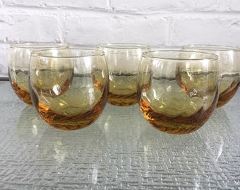 Libbey Tiara Gold Roly Poly Rocks Glasses