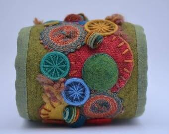 Fiber Cuff, Textile Bracelet Cuff, Button Cuff, Dorset Button Cuff, Bracelet, Cuff, OOAK