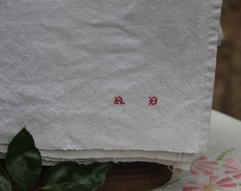 old vintage serving or vintage with small initial R B linen tablecloth