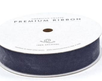 American Crafts Velvet Ribbon - Steel