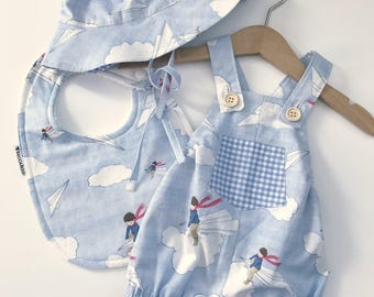 Boys Overalls Shorts - My Paper Plane with optional matching Bucket Hat and Bib