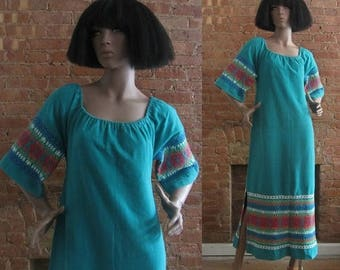 December Sale 1970s teal rainbow embroidered guatemalan maxi dress | 70's Boho Hippie | M to L