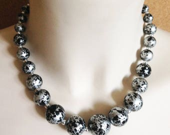 Necklace - black and silver beaded necklace
