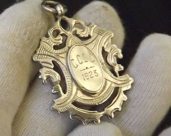 Antique  Sterling Silver Albert Watch Chain Fob by William Adams 1922