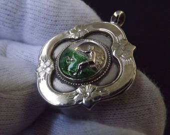 Vintage Sterling Silver and Enamel Albert Watch Chain Swimming Medallion by Thomas Fatttorini 1931