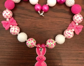 Easter Peeps Inspired - 2 Colors  Hot Pink or Blue Bubble Gum Necklace. (Child)