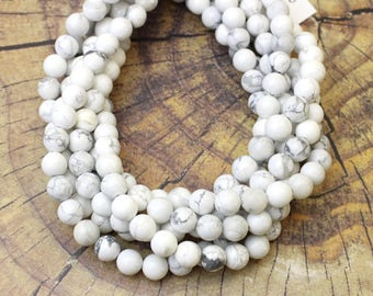 8mm Howlite Natural Stone for Jewellery Making and Malas on a 16 Inch Strand
