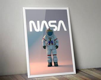 Space Astronaut NASA Astronaut Poster Print Art NASA Poster Print - 11x14