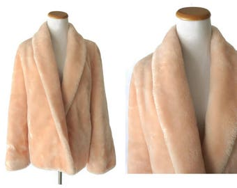 Pink Faux Fur Coat Furry Jacket Pastel Pink Open Front Shawl Collar Pockets Glam Girlie Hipster Indie Outerwear Size Large L