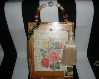 Moonlight and Roses Cigar Box Purse, Cigar Box Handbag, Sheet Music, Authentic, Tampa