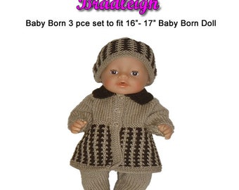 Baby Born Knitting Pattern (BRADLEIGH) fits 16 to 17 inch dolls (pattern only)