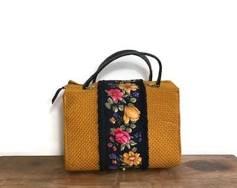 Pretty boho gypsy handbag / 50s 60s hand held purse / mustard purse with black florals / quirky true vintage box bag / vintage boho handbag